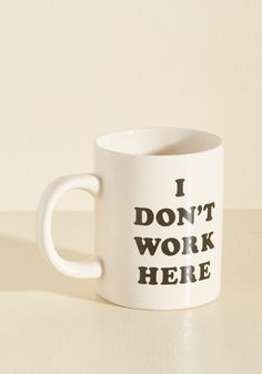 Rockin' Role Mug. Today's tasks can wait 'til later - right now you're just here to coffee up this ivory mug and chill! #black #modcloth