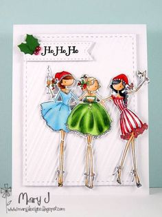 <3 Ho ho ho! Marybella has created a gorgeous clean and simple Christmas card featuring Stamping Bella Uptown Girls The Three Amigas.      Love this image, and absolutely love what Mary has done with it!   Spotted over on @Splitcoaststampers !     #stamps #stamping #cards #papercrafts #christmas
