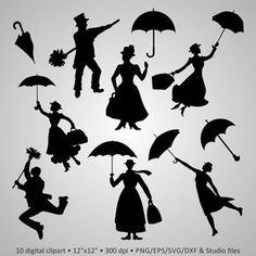 """Buy 2 Get 1 Free! Digital Clipart Silhouettes """"Mary Poppins"""" lovely characters, umbrella, rain, black images png/eps/svg vector scrapbook by PeppyPapers on Etsy Mary Poppins Silhouette, Disney Fantasy, Machine Silhouette Portrait, Disney Font Free, Free Images For Blogs, Deco Disney, Free Background Images, Printable Pictures, Shadow Puppets"""