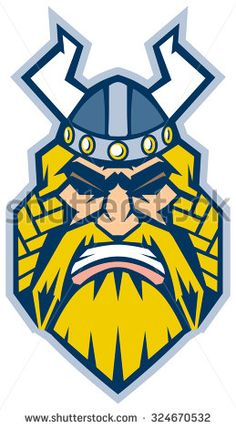 #Vector Cartoon #ClipArt #Illustration of a #Viking #mascot head in a front view, rendered in a #graphicstyle