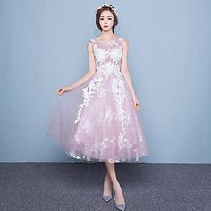 A-line+Wedding+Dress+Tea-length+Scoop+Lace+/+Tulle+with+Lace+–+USD+$+69.99