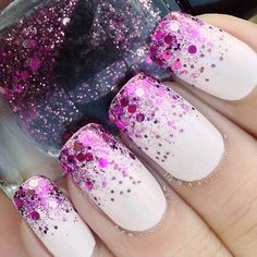 White nails with purple glitter!