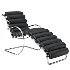 LexMod Ripple Chaise Lounge, Black Leather