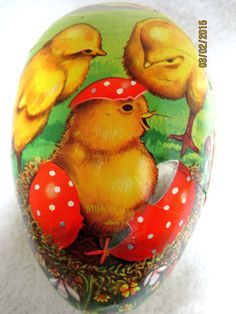 Vintage Paper Mache Easter Egg Germany Candy Container Box Hatching Chicks
