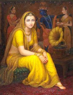 Indian love art painting and hot art Indian Women Painting, Indian Art Paintings, Ravivarma Paintings, Portrait Paintings, Rajasthani Painting, Indiana, Krishna Art, Hindu Art, Traditional Paintings