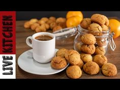 Μπισκότα Πορτοκαλιού για τον καφέ σας!! (Σε μόλις 10 λεπτά) Easy Orange Cookies in 10 min!! - YouTube Kitchen Living, Christmas Cookies, Biscuits, Cereal, Sweets, Vegan, Baking, Breakfast, Desserts