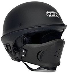 Amazon.com: Motorcycle Street Half Helmet DOT Approved with Adjustable Muzzle - VADER XL (Matte Black): Automotive