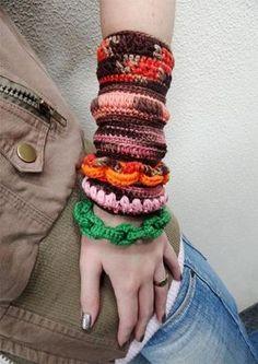 Braceletes de Crochê