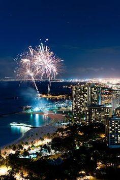 Friday night fireworks  on Waikiki Beach, Oahu ... launched from the Hilton Hawaiian Village hotel