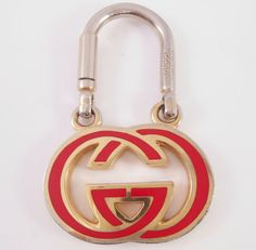 Gucci Key Chain 1970's Red Enamel Logo Double by Libbysmomsvintage