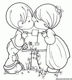 Dibujo de dos niños besándose
