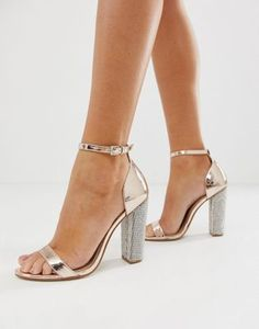 e407691476 ASOS DESIGN Highball barely there block heeled sandals with rhinestone heel  Sliver Heels, Asos Online