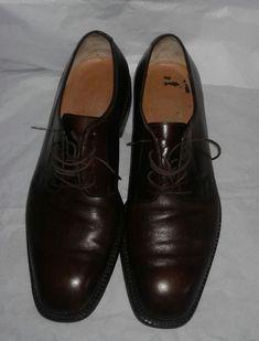 Salvatore Ferragamo Mens Brown Leather Cap-toe Oxford Shoes Size 7 1/2 (US) #SalvatoreFerragamo #Oxfords #Formal