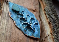 Copper pendant with blue patina flower от TanyaKolyada на Etsy