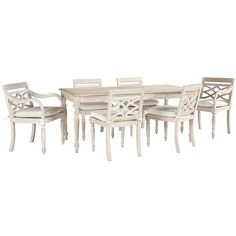Ballard Designs Ceylon Whitewash 7-Piece Rectangular Dining Set (1,355 CAD) ❤ liked on Polyvore featuring home, outdoors, patio furniture, outdoor patio sets, 7 piece outdoor patio set, expandable dining table set, outdoor furniture and 7 piece dining table set