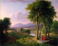 "Asher B. Durand, ""View Near Rutland, VT."" Durand (August 21, 1796 – September 17, 1886) was an American painter of the Hudson River School. With Cole,  he did much to revolutionize not only the styles and themes of American painting, but the methods. Cole sketched from nature, frequently dramatic vistas in the Catskills or White Mountains, and then returned to his studio to compose his large scale canvasses, alive with tactile brushwork and atmospheric lighting that seemed to breathe."