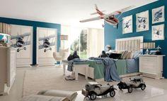 Flieger Inspiriertes Jungenzimmer-Design blau