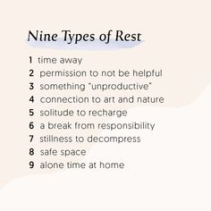 Nine types of rest & self care for self love The Words, Motivacional Quotes, Life Quotes, Funny Quotes, Relation D Aide, Vie Positive, Self Care Routine, Me Time, Self Development