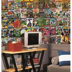 Marvel Comic Wall Mural- RoomMates    Fill an entire wall with vintage style comic book covers. Perfect for boys (and adults!) of all ages. Prepasted for easy installation and SureStrip allows for removal that won't damage walls.