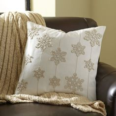"First Snowfall Pillow Cover $44.95 20"" x 20"" Cover only, no insert."