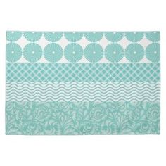 Crazy Teal Blue Patterns Circles Floral Plaid Wave Kitchen Towel #kitchentowels #kitchen #towels #gifts #zazzle #MadeintheUSA #prettypatterngifts www.PrettyPatternGifts.com