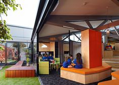 St Monica's College Melbourne: Branch Studio Architects adds timber-clad extension to school library You are in the right place about Educational Architecture Here we offer you the most beauti Library Architecture, Education Architecture, School Architecture, Architecture Interiors, Elementary Schools, High Schools, Primary School, St Monica, Outdoor Learning Spaces
