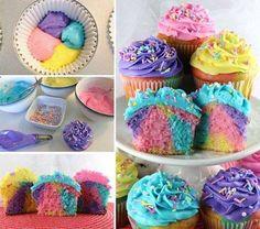 Cute rainbow cupcakes!