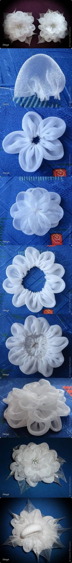 DIY Fabric Lust Flower DIY Projects This would be so cute for a hair pin! Ribbon Art, Ribbon Crafts, Fabric Ribbon, Flower Crafts, Fabric Crafts, Sewing Crafts, Sewing Projects, Diy Projects, Diy Crafts