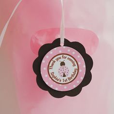 Ladybug Favor Tags Birthday Party - Pink & Brown