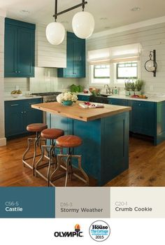 Kitchen Cabinet Color That Pops | Designer McFadden enlivened the kitchen with cabinets painted in Olympic®️️ Paint's blue paint color Castile. Photo: Deborah Whitlaw Llewellyn | from Idea House 2015 | Cottage at Cloudland Station