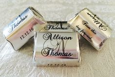 Amazon.com: 210 SILVER FOIL Monogram Wedding Candy wrappers/stickers/labels that fit your HERSHEY NUGGETS (Personalized Favors) for any Party or Event: Health & Personal Care