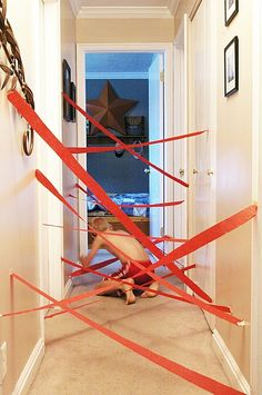 How cool would it be to do this in a section of the pre-k hallway one day???     DIY laser maze kids activity