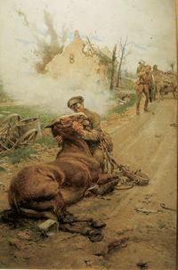 """""""Goodbye, Old Man."""" Depicting a distraught British cavalryman saying farewell to his dying horse, this painting was done by Italian artist Fortunino Matania to raise awareness for the Blue Cross, a. Military Art, Military History, World War One, First World, Ww1 Art, Wilhelm Ii, Remembrance Day, Italian Artist, Equine Art"""