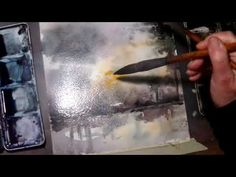 Hedwig's Art watercolor sunset with trees, tutorial real time. - YouTube