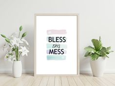 Bless This Mess - Instant Download - Printable Art by PinkPebblePrints on Etsy Printable Quotes, Printable Art, Printables, Family Tree Print, Personalised Prints, Striped Background, Online Print Shop, Blessed, Art Prints