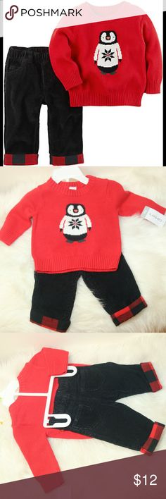 NWT Carter Penguin Red  Sweater Corduroy Pants 3M NWT Carter Penguin Red Sweater Black Corduroy Pants 3 Months Super cute Penguin Sweater and matching pants 2 piece21.5-24 inc/ 9-12 lb Carter's Matching Sets