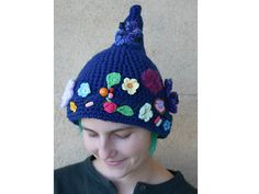 Crochet fairy hat - navy garden with flowers. Pointy beanie for gnome, pixie. Colorful hat. Own Croco Crochet design.