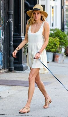 Jessica Hart Photos - Jessica Hart Walks Her Dog - street style june 2014