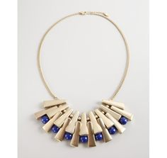 Danielle Stevens gold plate and blue bead sunburst necklace