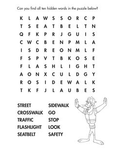 Find All Of The Street Smarts Words In This Fun Danger Rangers Word Kids Coloring SheetsColoring
