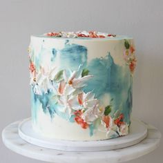 'Water Lily' oil painting effect buttercream cake