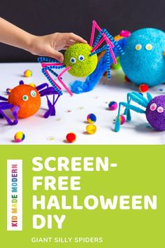 These giant spiders made from foam balls and fuzzy sticks are more silly than scary. Create some rainbow ones! #halloweendiy #artsandcrafts #kidscrafts Summer Camp Crafts, Kids Fall Crafts, Rainy Day Crafts, Halloween Activities For Kids, Craft Projects For Kids, Halloween Kids, Halloween Crafts, Diy For Kids, Project Ideas