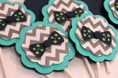 BowTie Navy Lime Green Turquoise Gray Chevron Stripe Polka Dot CUPCAKE TOPPERS Boy Baby Little Man Shower Birthday Party Decorations Decor on Etsy, $18.00 for Graham's 1st this would be so cute!! You know I plan ahead lol @Tara Harmon Watson @Ashley Walters Tuck