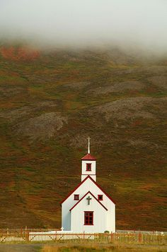 little white church in Iceland by lolla_sig, via Flickr