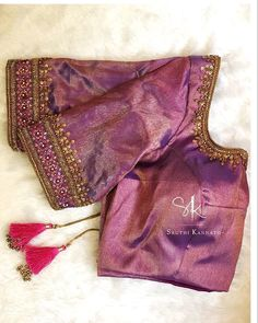 generic purple blouse - i wondered if the fabric here might be an interesting match for the pink saree Wedding Saree Blouse Designs, Silk Saree Blouse Designs, Kurti Designs Party Wear, Blouse Neck Designs, Hand Work Blouse Design, Simple Blouse Designs, Viria, Traditional Blouse Designs, Lehenga