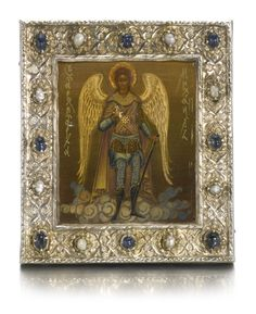 An icon of the Archangel Michael with jewelled silver basma, Feodor Mishukov, Moscow,  1912-1917 | Lot | Sotheby's