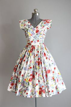 Vintage 1950s Dress / 50s Cotton Dress / by TuesdayRoseVintage: