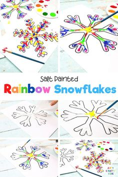 Raised Salt Painted Rainbow Snowflakes: Part art, part experiment, this easy Winter craft is a fun and engaging way to combine art and science. Easy Winter Art for Kids Snowflakes | Winter Art Projects for Kids | Winter Crafts for Kids Art Projects | Winter Salt Painting for Kids | Winter Snowflake Art for Kids | Winter Snowflake Crafts for Kids | Winter Snowflake Art for Kids | Winter Snowflake Art Projects for Kids | Winter Art Ideas for Kids #WinterArt #SnowflakeCrafts Winter Activities For Kids, Winter Crafts For Kids, Crafts For Kids To Make, Art For Kids, Kid Art, Winter Kids, Kid Activities, Kid Crafts, Snowflake Template