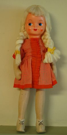 RESERVED 1940s Vintage Toy Sawdust Doll Made in Poland WWII Play Doll Retro Style Dress Movable Arms Legs Blond Braids Painted Face