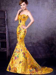 Dragon+Wedding+Dresses | Cheongsam Mermaid Sweep Strapless Embroidery dragon Robe Wedding Dress